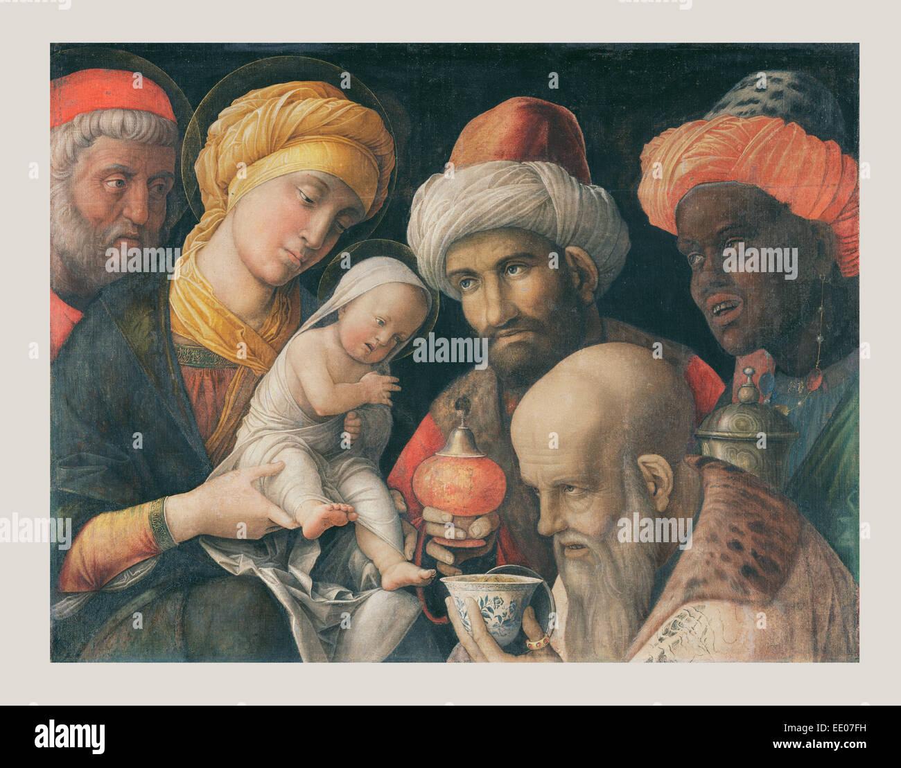 Adoration des Mages; Andrea Mantegna (Italien), Padoue, à propos de 1431 - 1506; 1495 - 1505; à propos de carré Banque D'Images