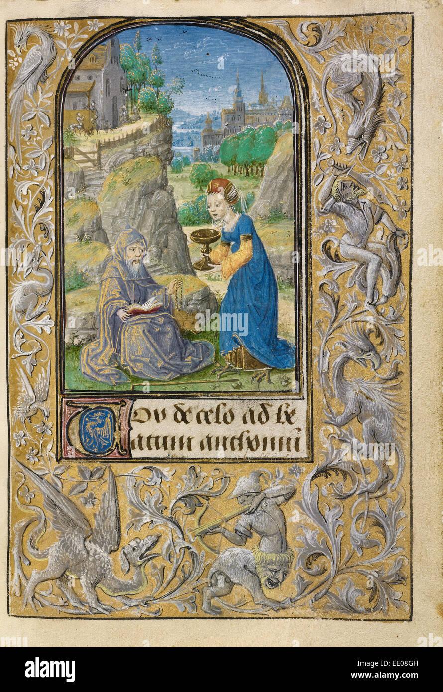 La Tentation de Saint Antoine; Lieven Van Lathem, flamand, environ 1430 - 1493, 1454 - 1493; active Photo Stock
