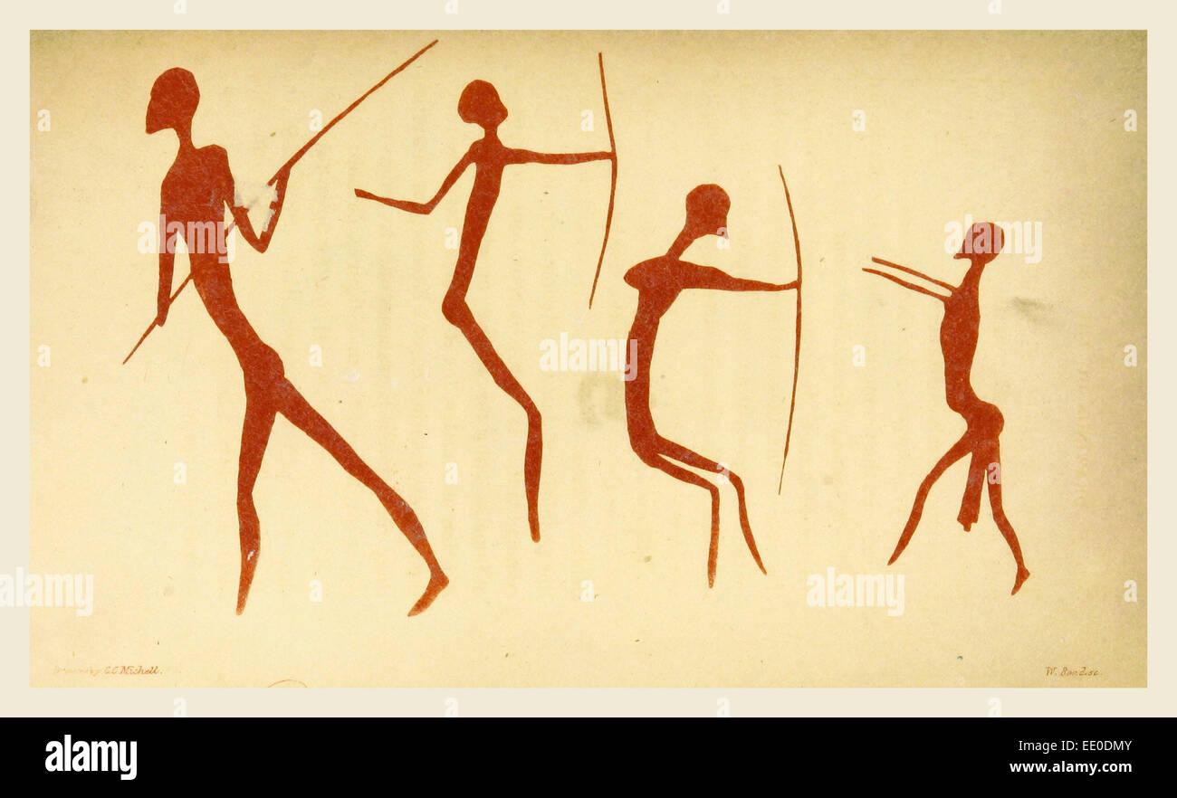 Les dessins des Aborigènes d'Afrique australe, la gravure du xixe siècle Photo Stock