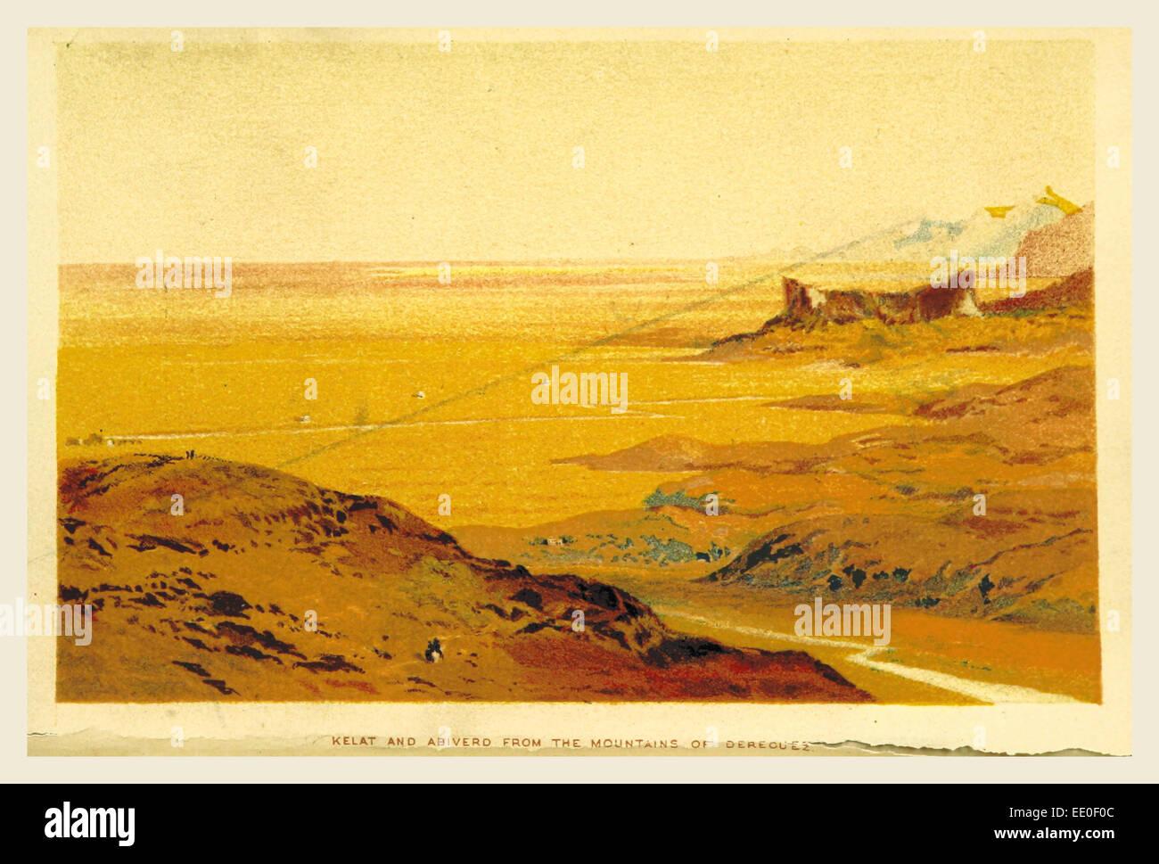 Voyages et d'aventures sur la frontière, Perso-Turkoman Kelat et Abiverd gravure, 19e siècle Photo Stock