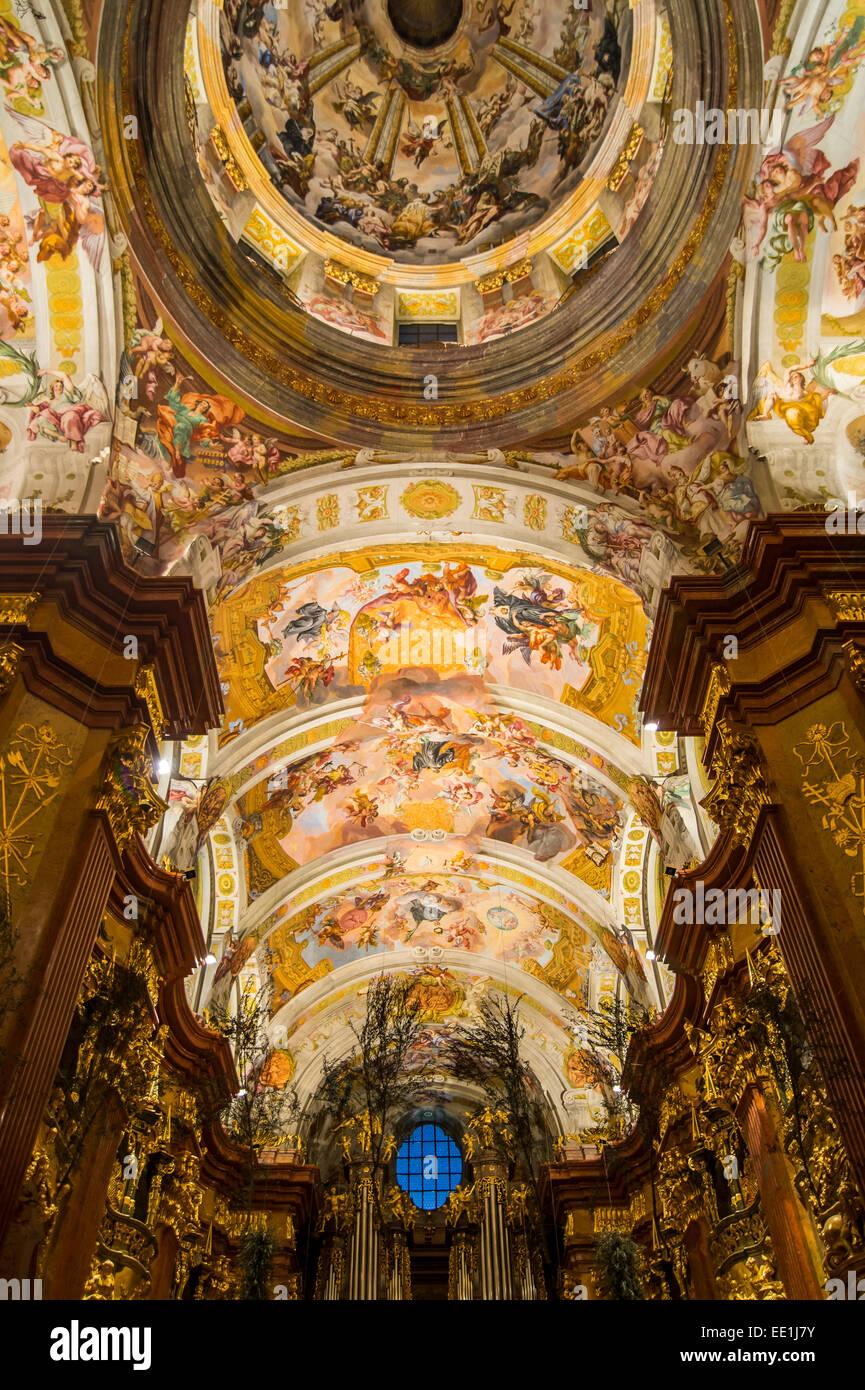 Des fresques au plafond de l'église, l'Abbaye de Melk, l'abbaye bénédictine, Melk, Paysage Photo Stock