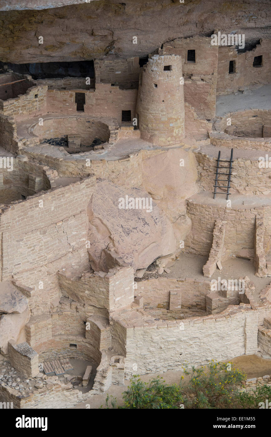 L'habitation des Indiens Cliff Palace, le Parc National de Mesa Verde, UNESCO World Heritage Site, Colorado, Photo Stock