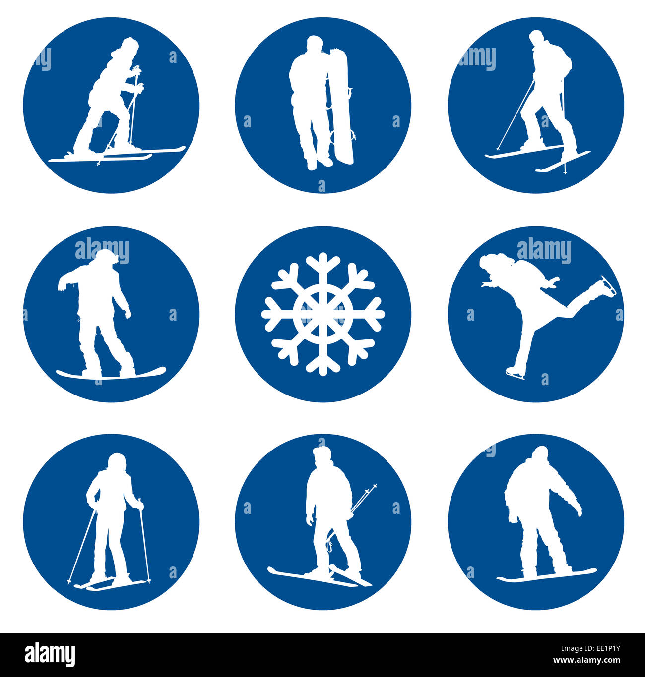 Ski vector silhouettes collection. EPS 10. Photo Stock