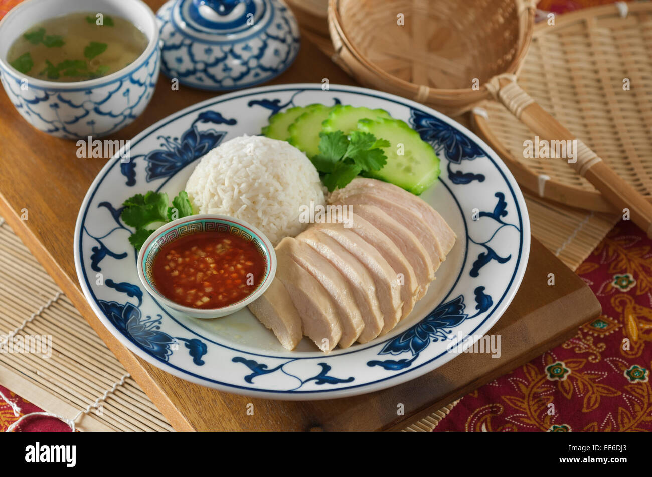Khao man gai. Riz au poulet de la Thaïlande Photo Stock