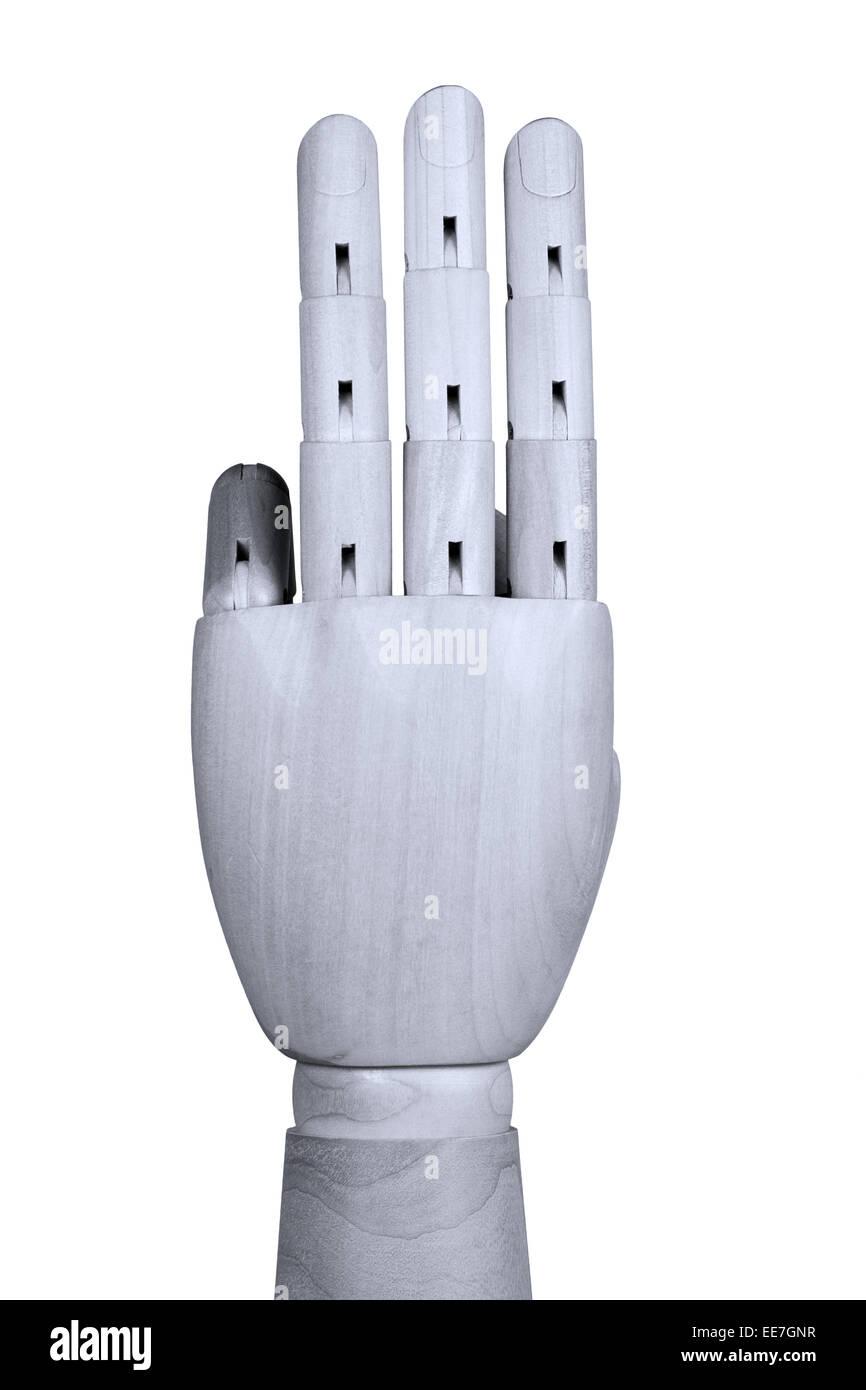 Maquette en bois part montrant trois doigts jusqu'à l'arrière de la main être vu Photo Stock