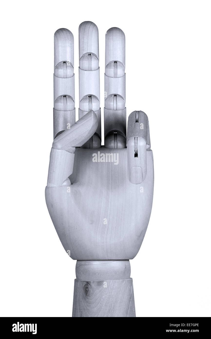 Maquette en bois part montrant trois doigts vers le haut avec palm voir Photo Stock