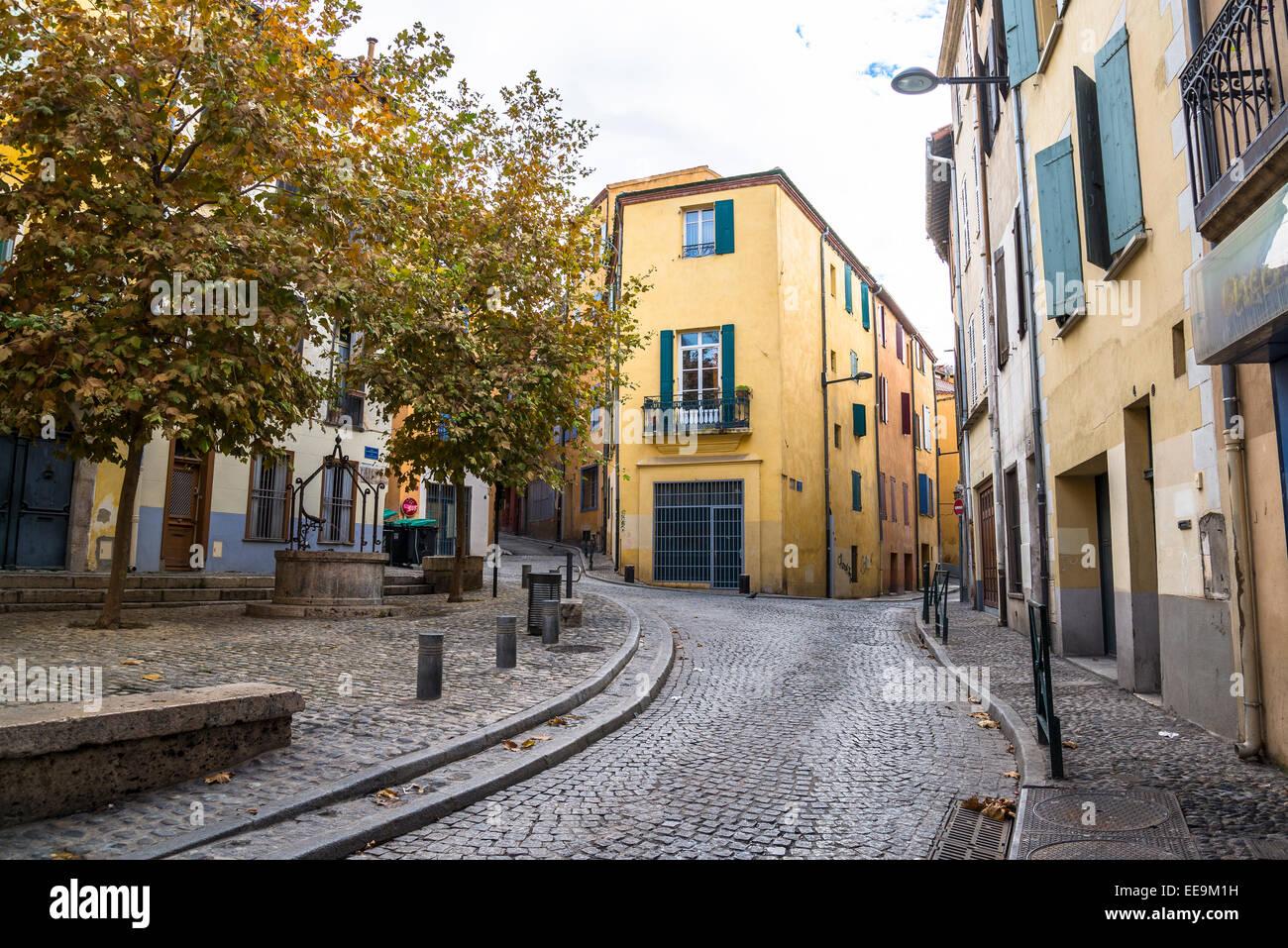 Square en vieille ville, Perpignan, Pyrénées-Orientales, France Photo Stock