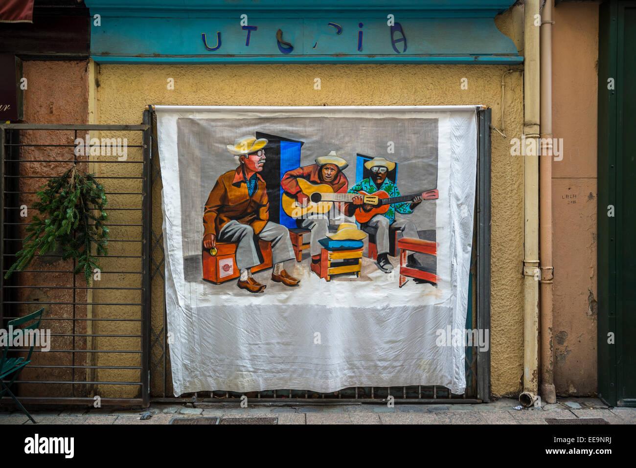 La peinture dans la rue, Perpignan, Pyrénées-Orientales, France Photo Stock