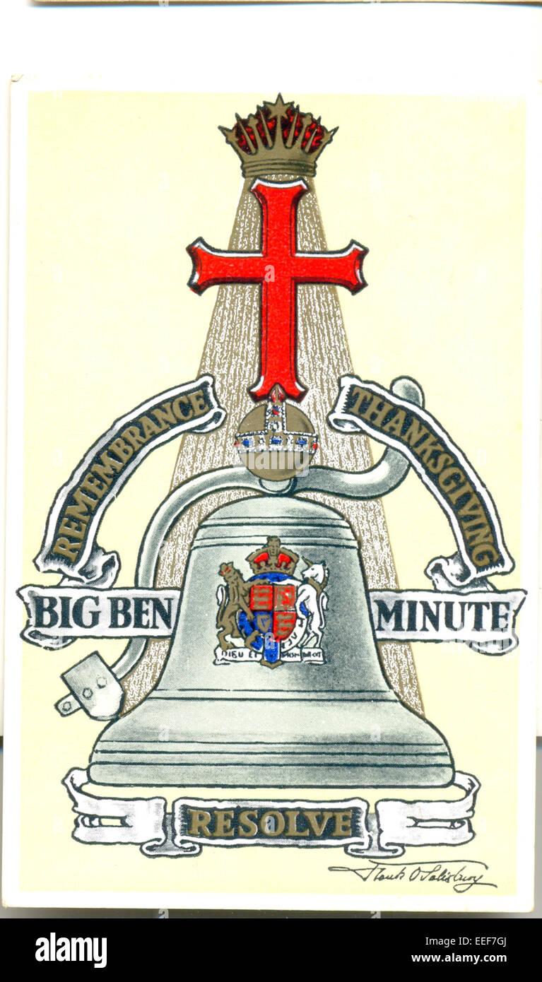 Carte postale Souvenir de la Première Guerre mondiale par l'artiste Frank Salisbury O Banque D'Images