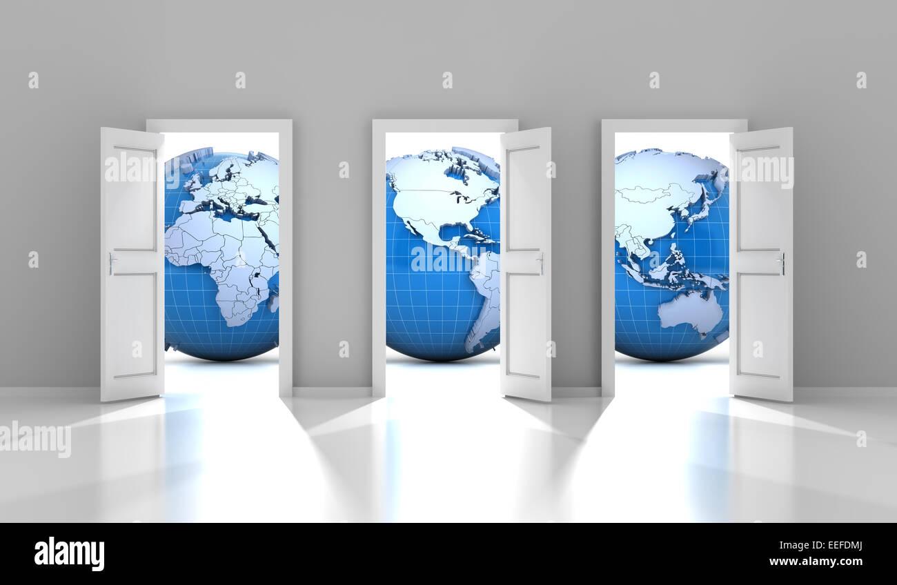 Ouvert des portes menant à différentes parties du monde Photo Stock