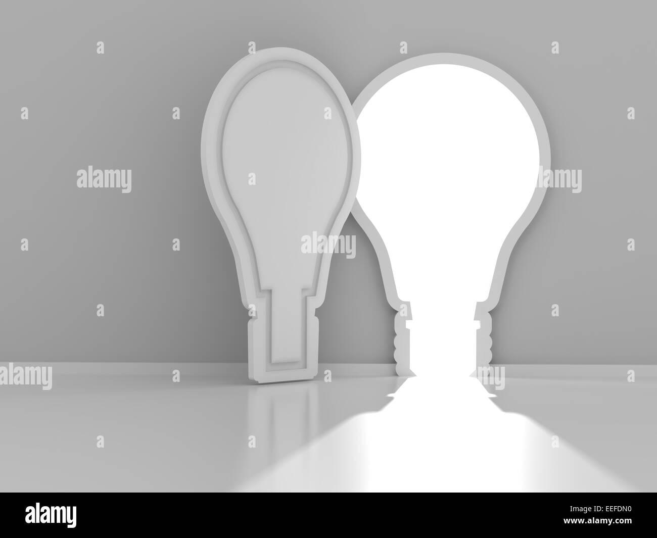 Porte en forme d'ampoule avec copyspace, rendu 3D Photo Stock