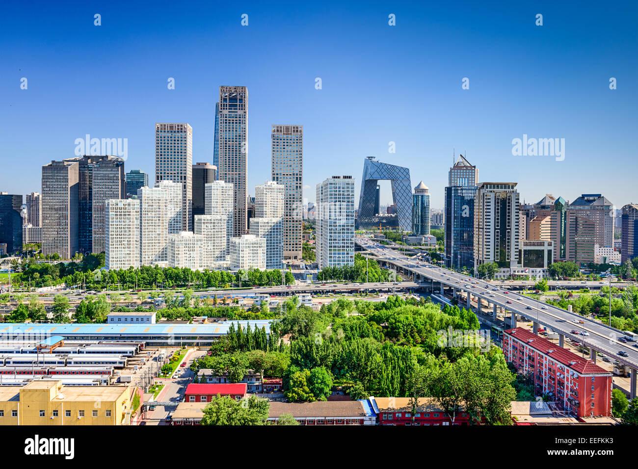 Beijing, Chine quartier financier moderne d'horizon. Photo Stock