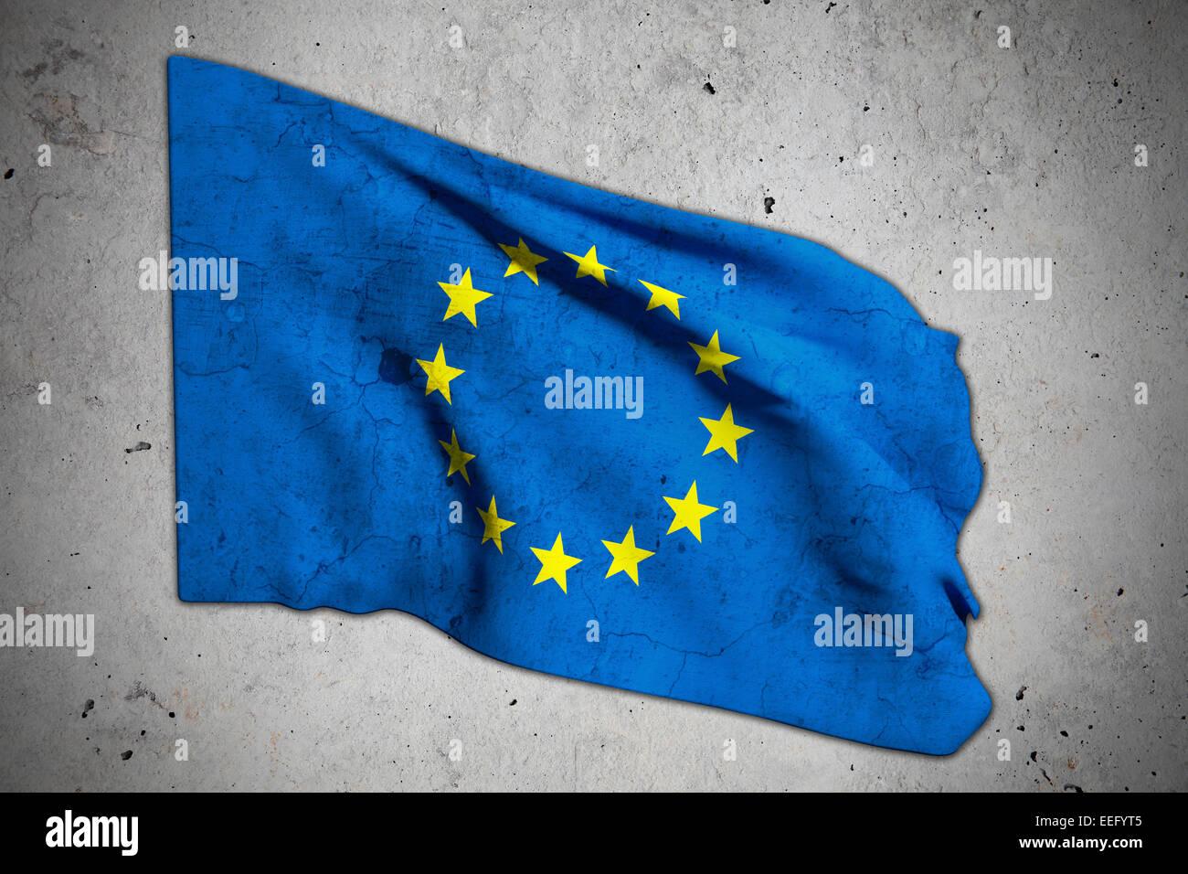 Le rendu 3D d'un vieux drapeau ecc Photo Stock