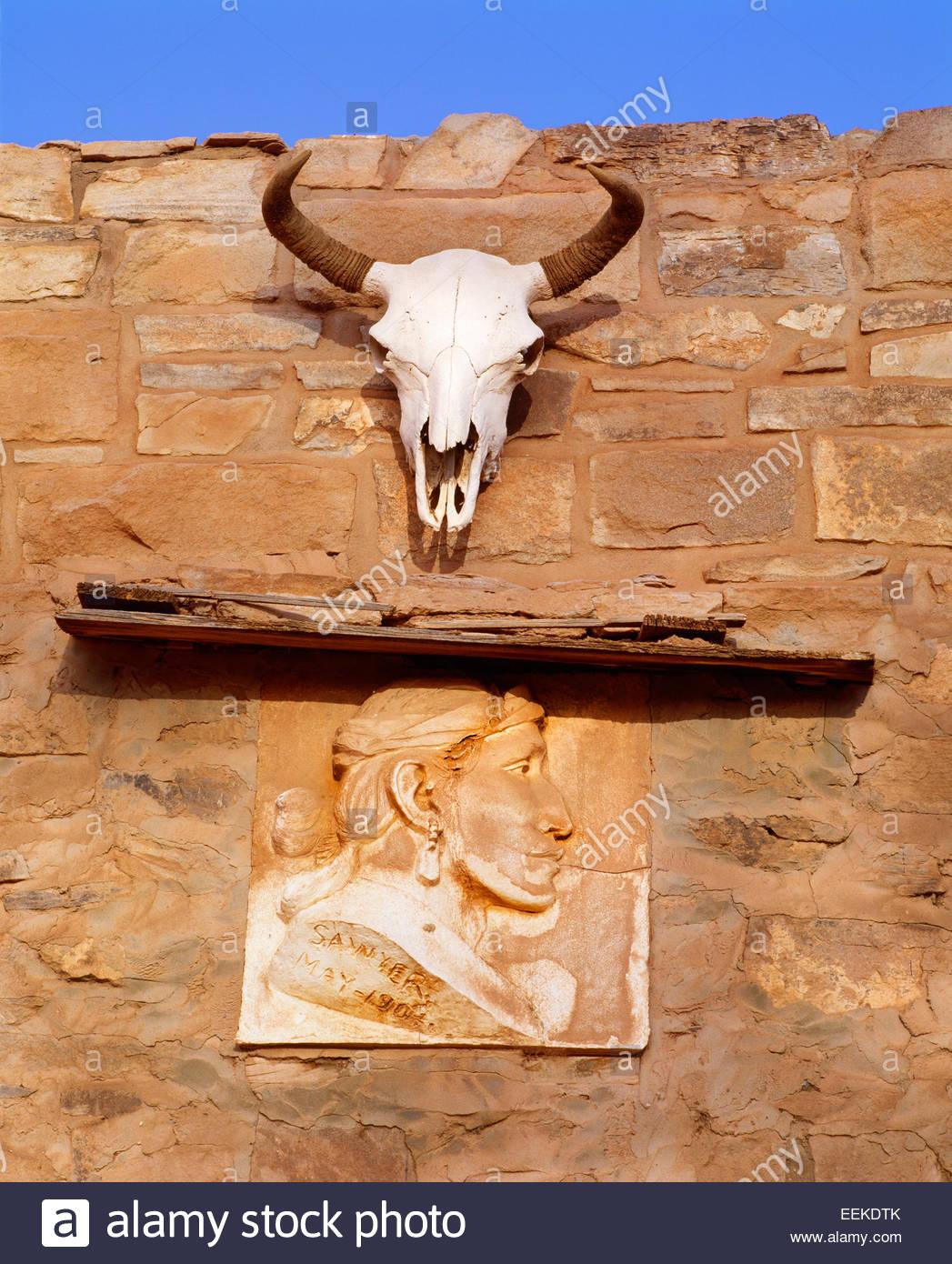 Entrée de la Navajo trading post, fondée en 1878. Hubbell Trading Post Lieu historique national, de l'Arizona. Photo Stock