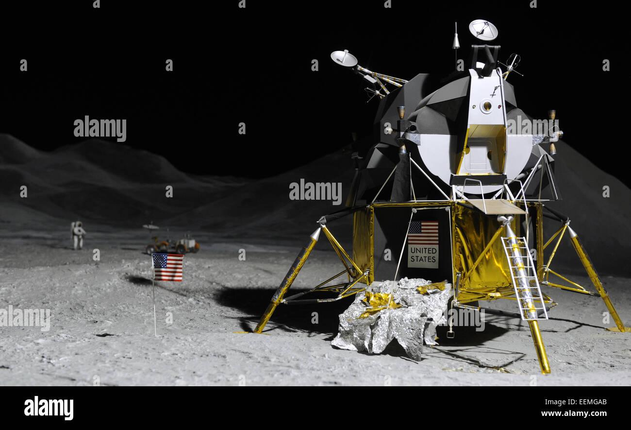 Apollo 15. Mission en l'Apollo progarm. Rover lunaire sur la première surface lunaire d'Apollo 15 EVA. Photo Stock