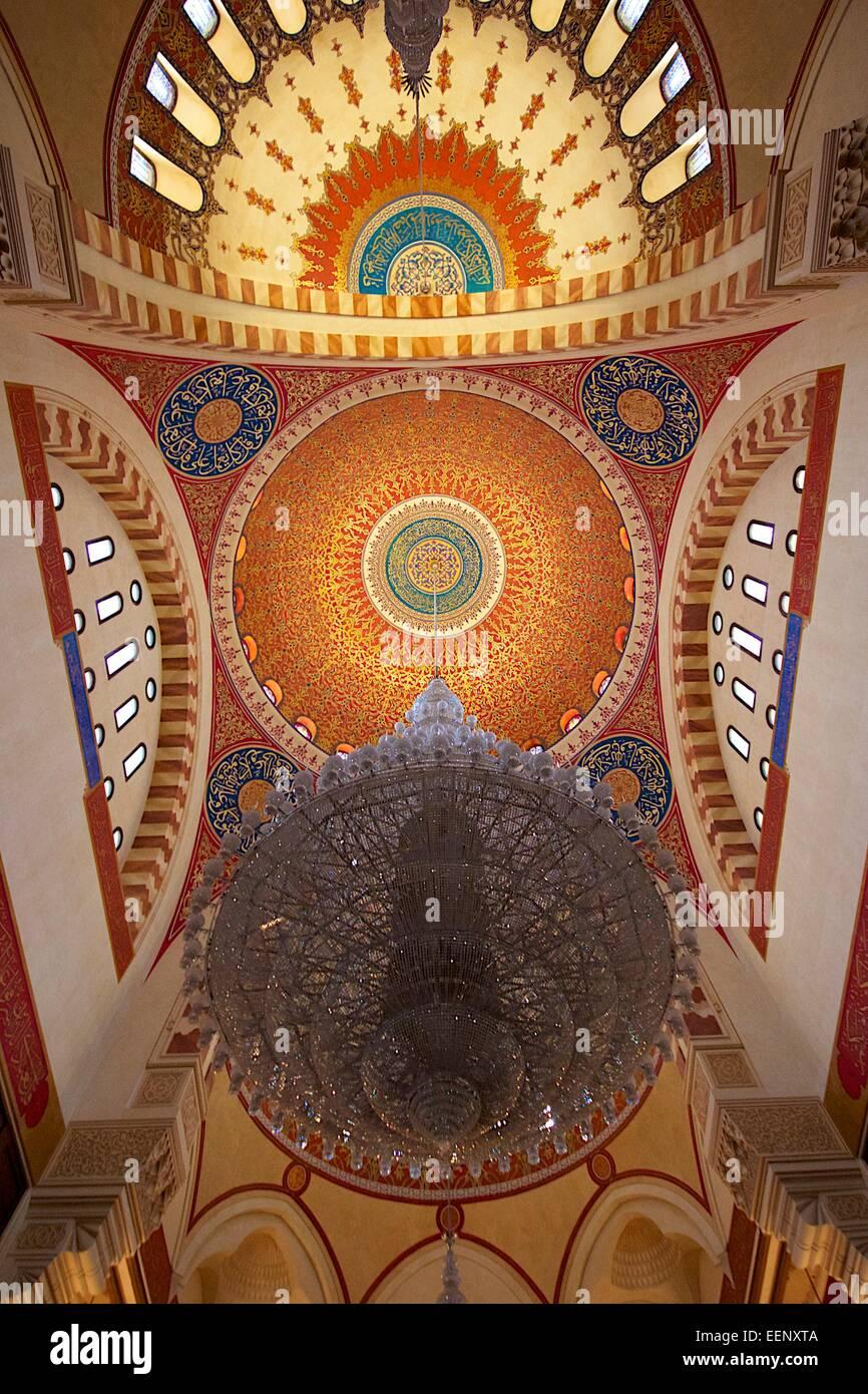 À l'intérieur de la mosquée principale de Beyrouth. Al-Amin Mosquw Photo Stock