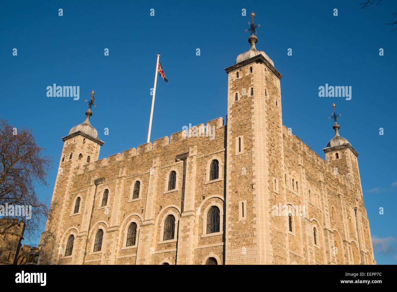 Tour blanche à la Tour de Londres sous le soleil d'hivers jour,ANGLETERRE Photo Stock