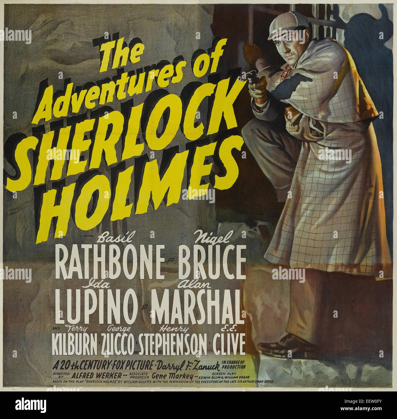 Les aventures de Sherlock Holmes - l'affiche de film Photo Stock