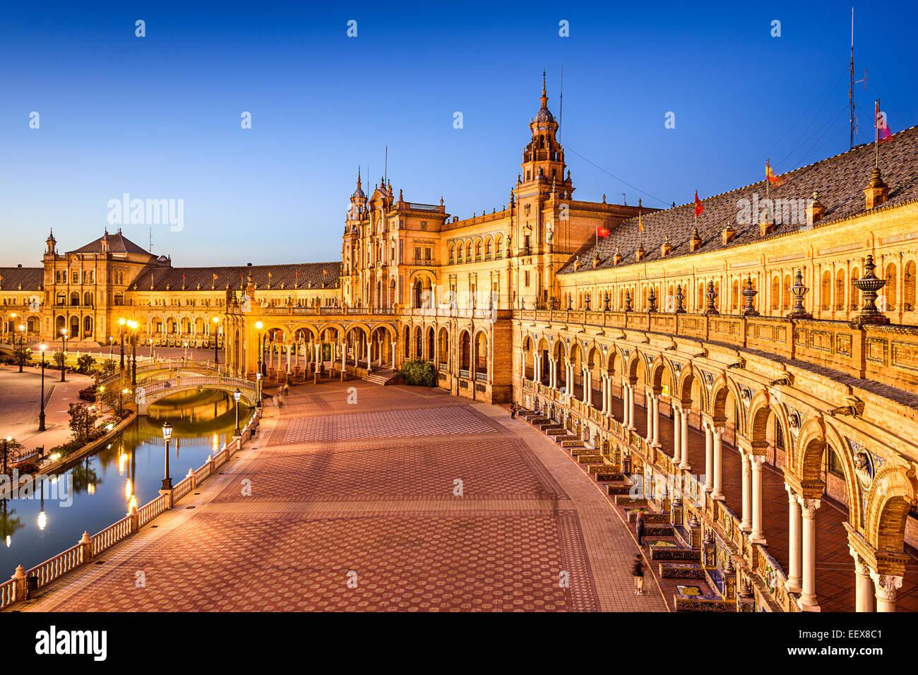 Séville, Espagne à Place d'Espagne (Plaza de España). Photo Stock