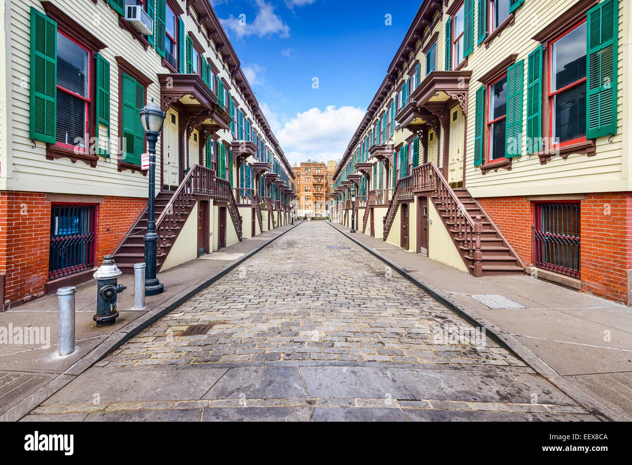 La ville de New York, USA au rowhouses Jumel dans le quartier historique d'une terrasse. Photo Stock