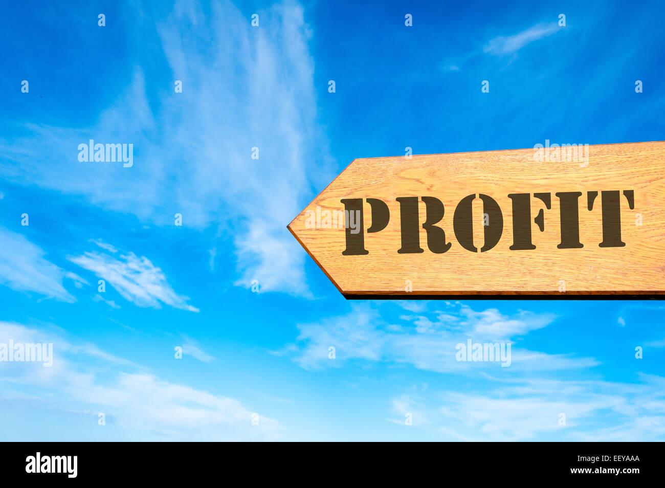 Bois panneau de flèche contre ciel bleu clair avec but lucratif, message Business concept de rentabilité Photo Stock