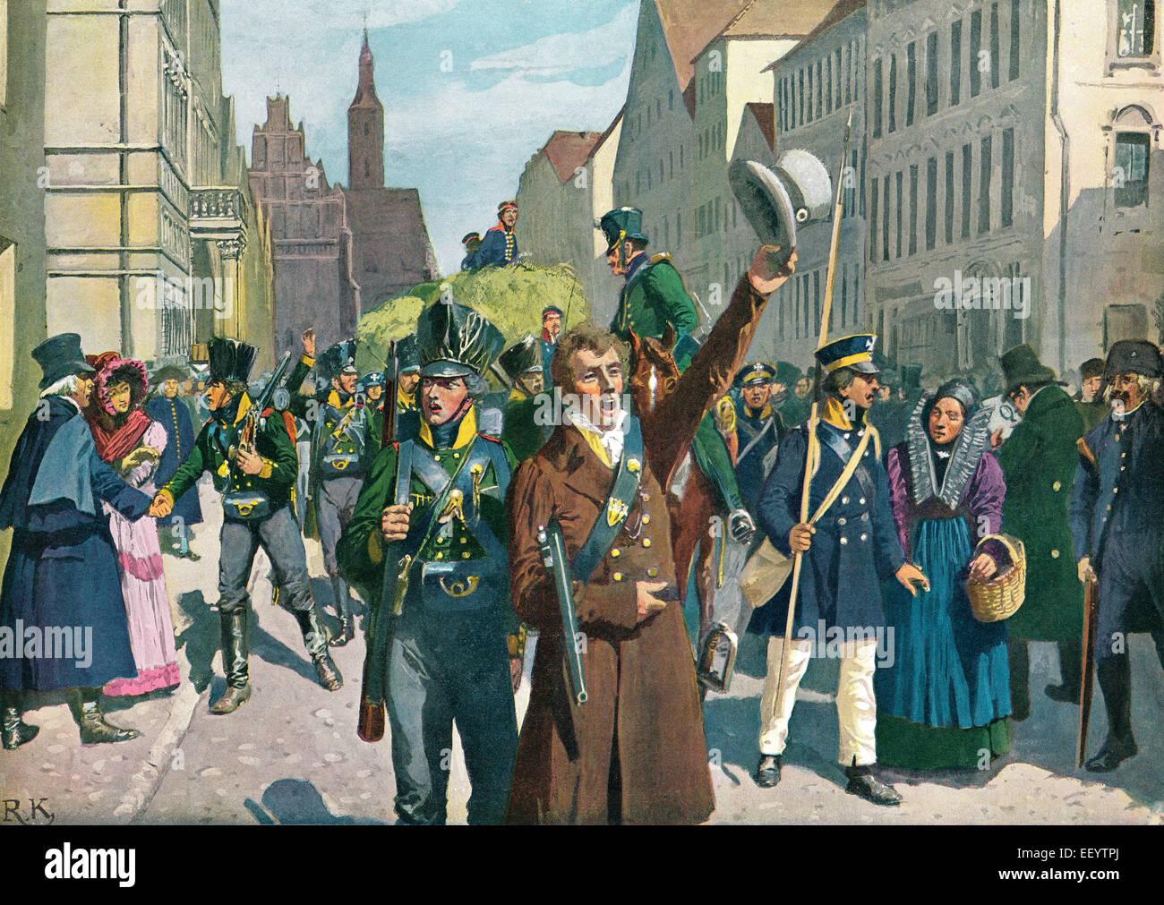 Soulèvement dans Breslau, 1813, les guerres d'indépendance de 1813-15, une peinture par Richard Knötel Photo Stock