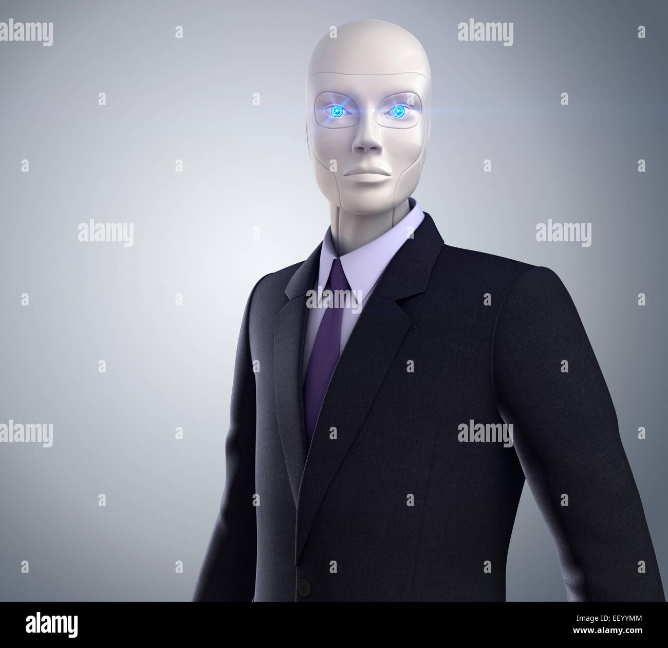 Robot vêtu d'un costume d'affaires Photo Stock