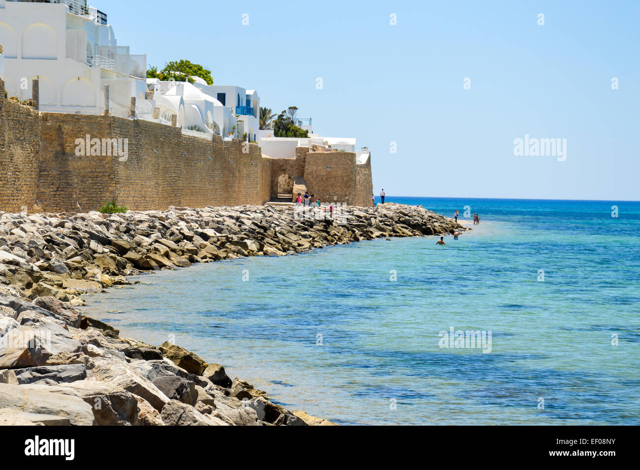 La ligne de la Côte d'Hammamet en Tunisie Photo Stock