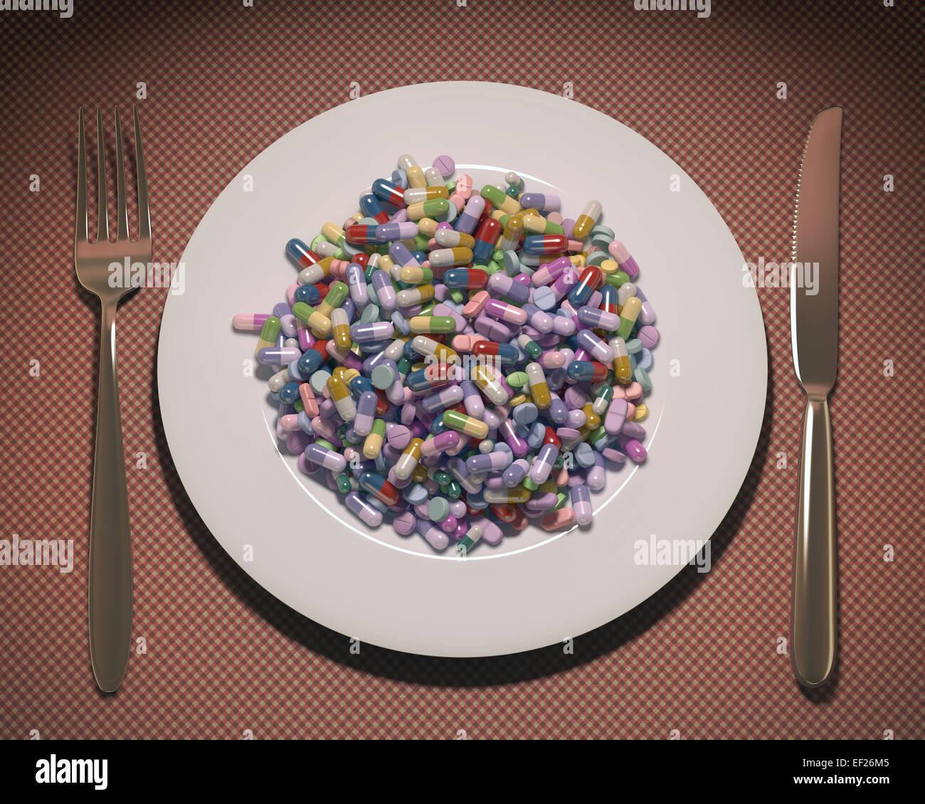 Lave remplis de médicaments et suppléments au lieu de la nourriture. Chemin de détourage inclus. Photo Stock