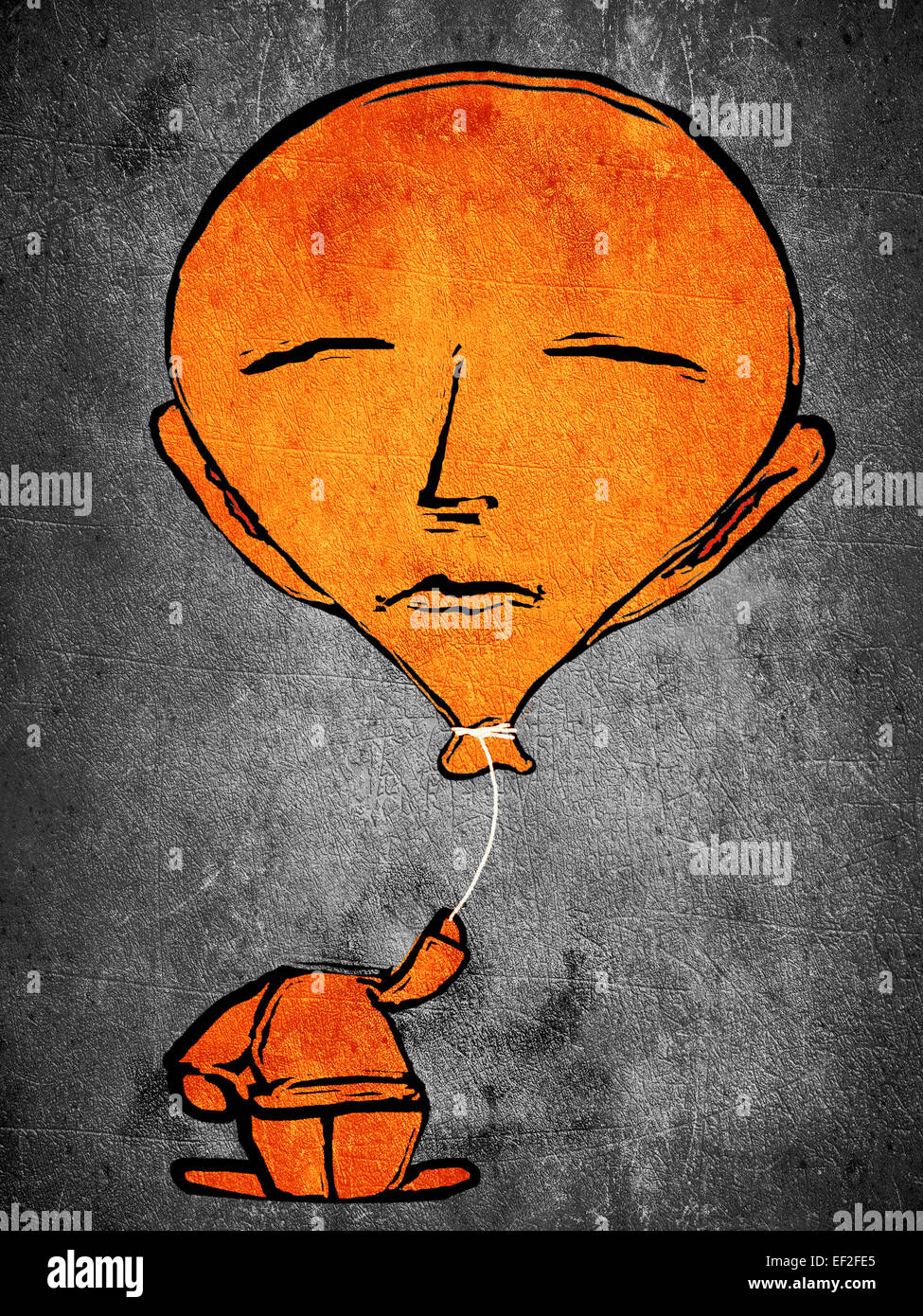 L'homme orange à dormir avec la tête de ballon Photo Stock
