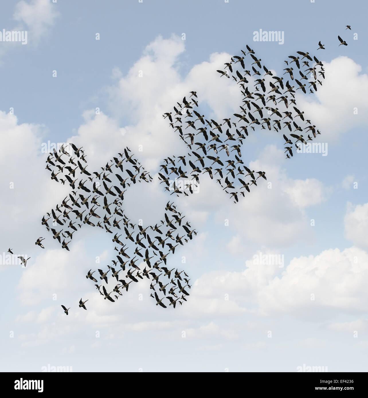 Puzzle oiseaux volants comme un concept d'affaires pour la stratégie de groupe comme deux troupeaux d'oies Photo Stock