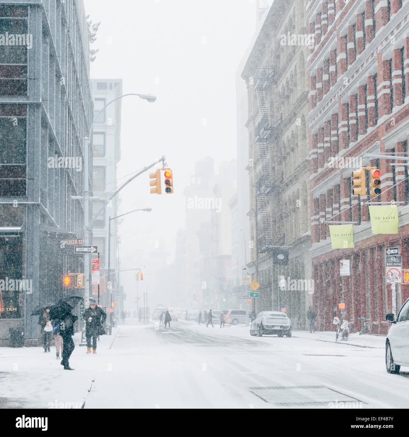 Chanta Soho street .New York, USA. 26 janvier, 2015. Tempête de Blizzard: Juno dans la ville de New York. Photo Stock
