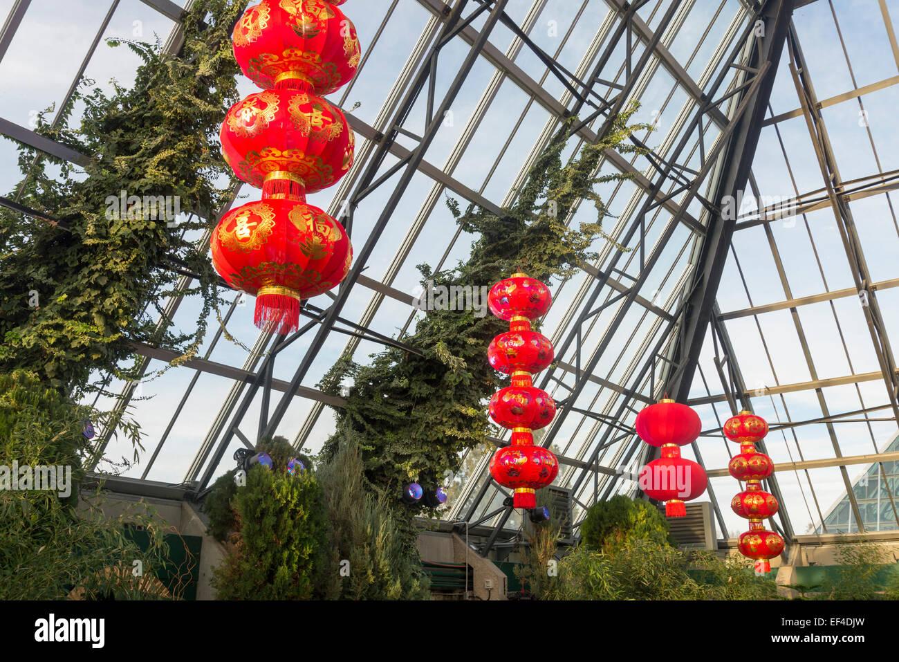 Lanternes chinoises rouge dans la fonction pavilion Célébrez le Nouvel An chinois de Ram, la Muttart Conservatory Photo Stock
