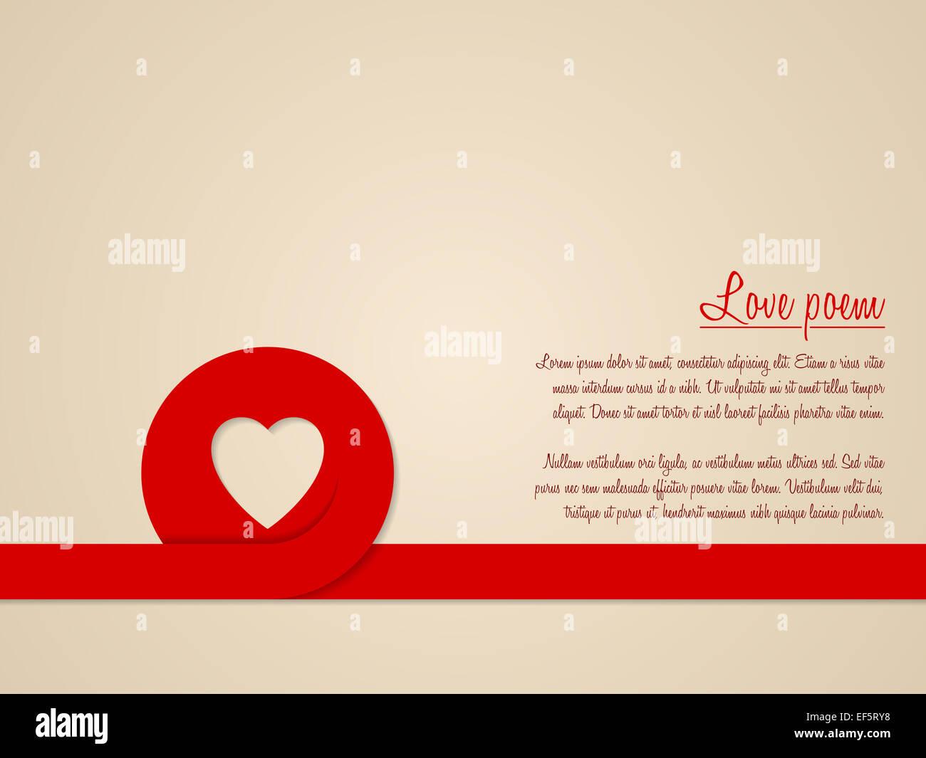 Carte De Voeux De La Saint Valentin Avec Coeur Rouge Et