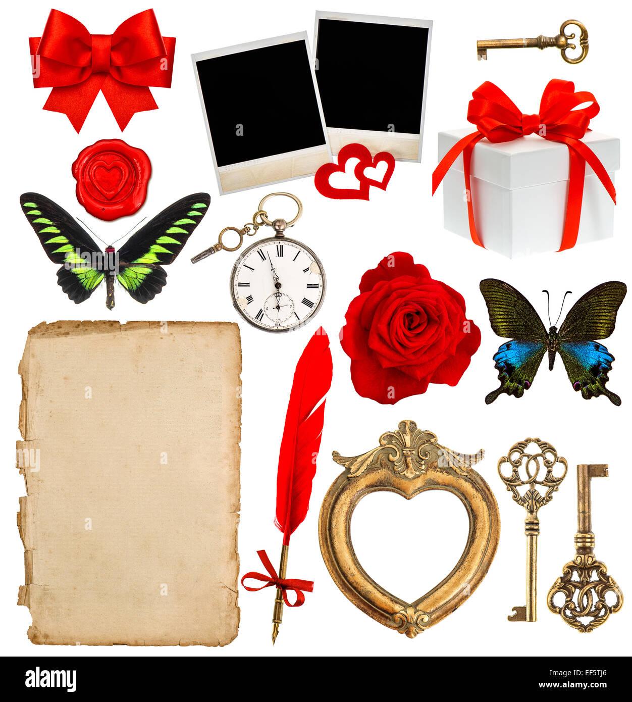 Objets Pour Scrapbooking Papier Lettre Horloge Ancienne Clé