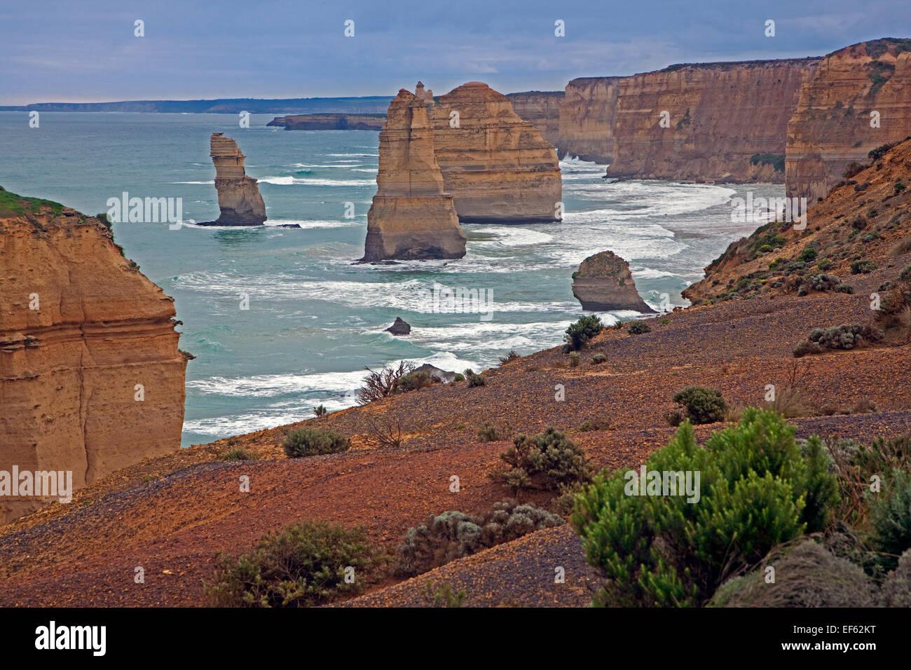 Douze Apôtres, érodé les piles de la mer au Port Campbell National Park, le long de la Great Ocean Photo Stock