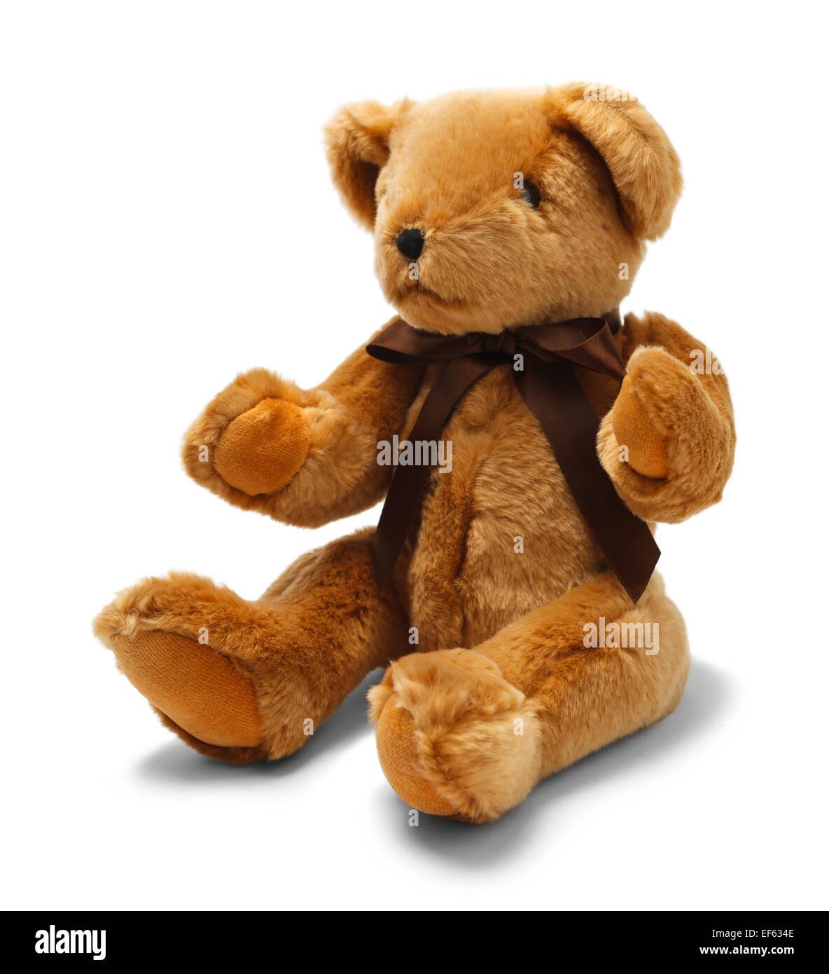 Jouet ours marron avec ruban isolé sur fond blanc. Photo Stock
