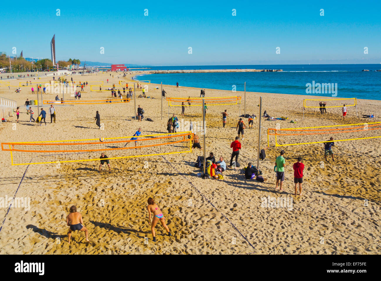Beach-volley, plage Platja Nova Icaria, Barcelone, Espagne Photo Stock