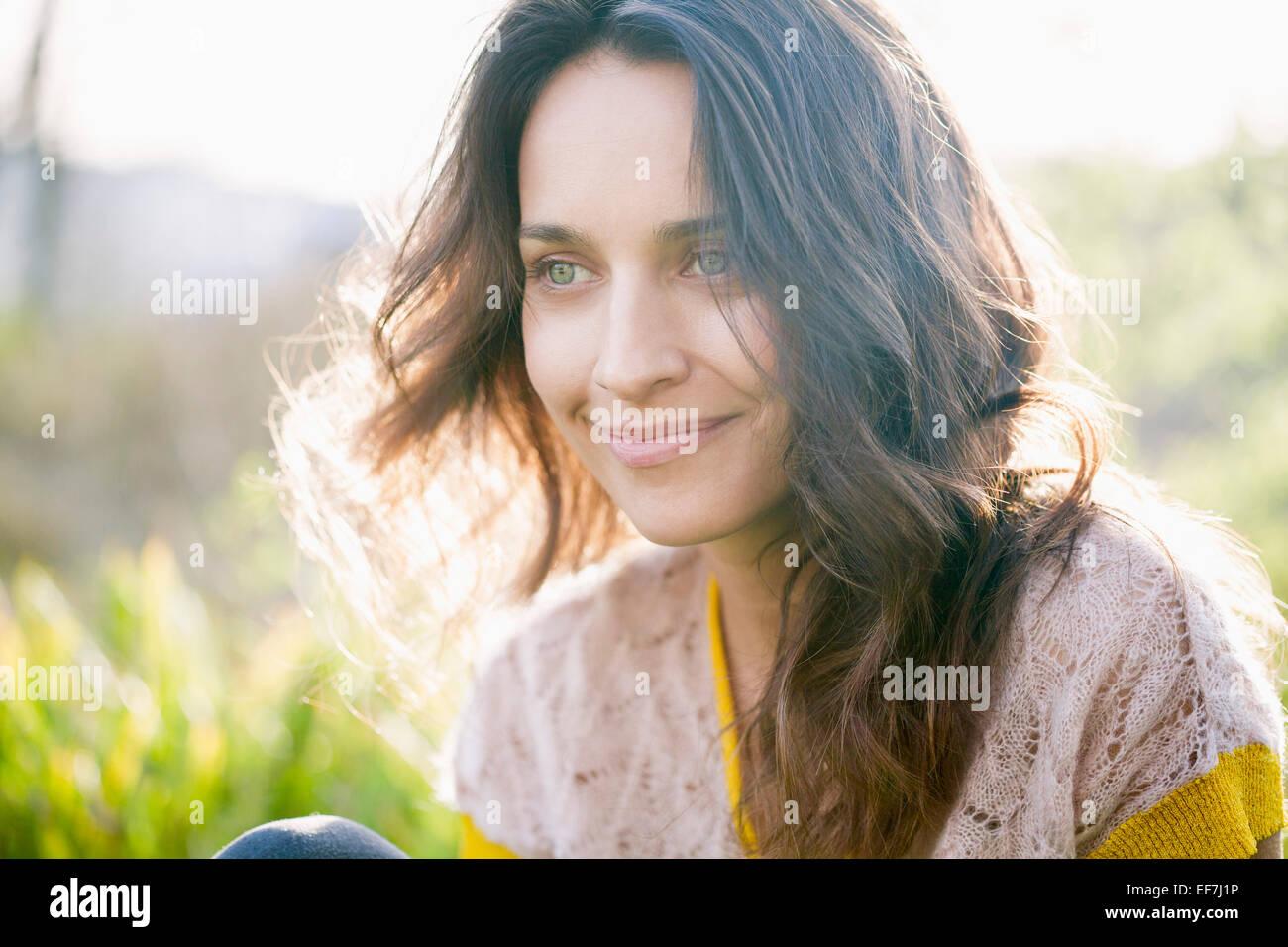 Beautiful woman smiling Photo Stock
