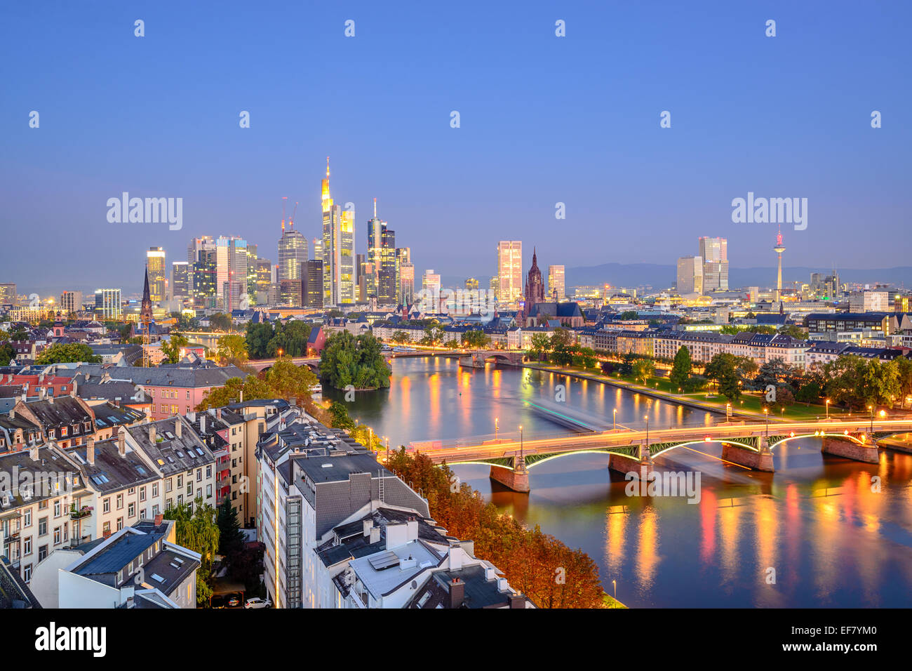 Francfort, Allemagne ville sur la rivière principale. Photo Stock
