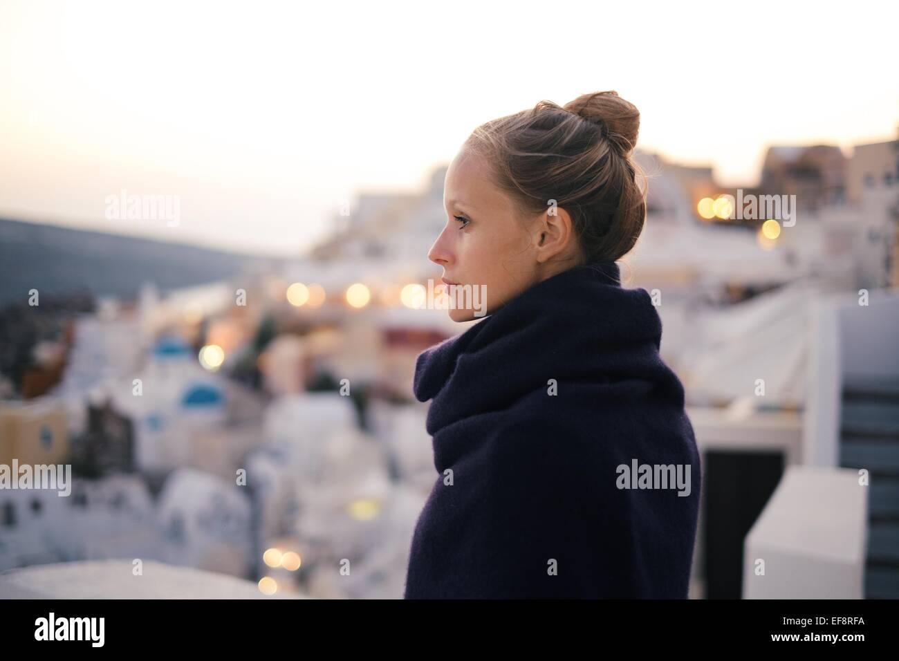 Grèce, Portrait de jeune femme Photo Stock