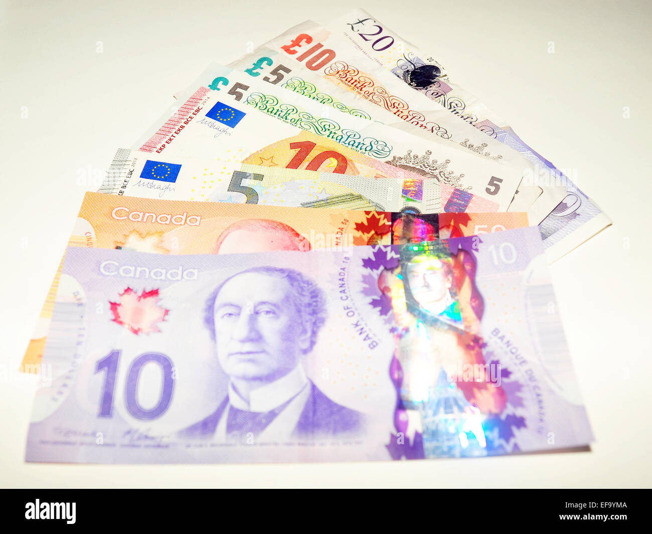 La Livre Sterling Dollar Canadien Notes Et Notes Notes Euro