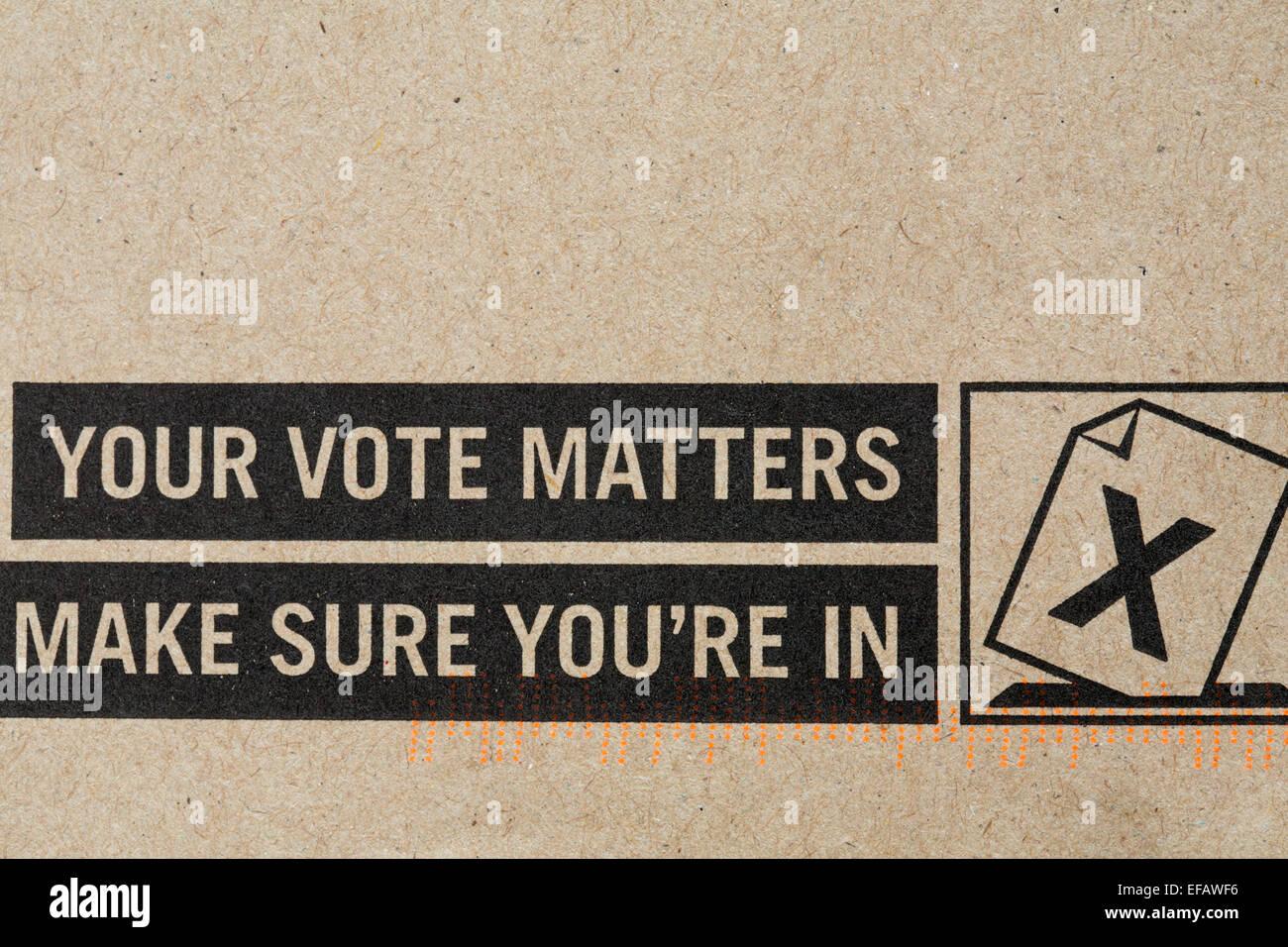 Votre vote compte assurez-vous que vous êtes dans l'enveloppe - détails sur Photo Stock