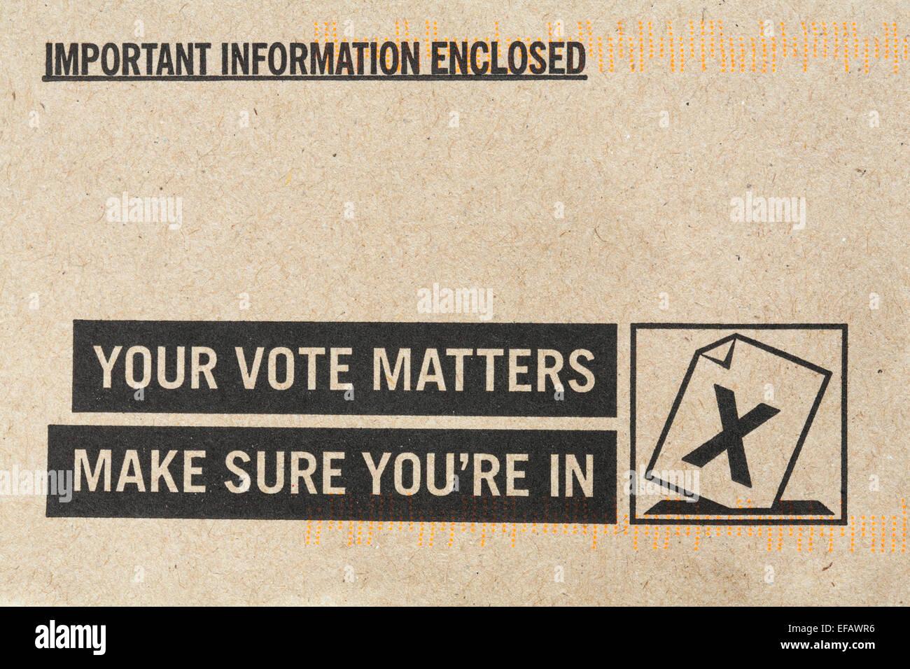 Informations importantes ci-joint votre vote Assurez-vous que vous êtes dans l'enveloppe - détails Photo Stock