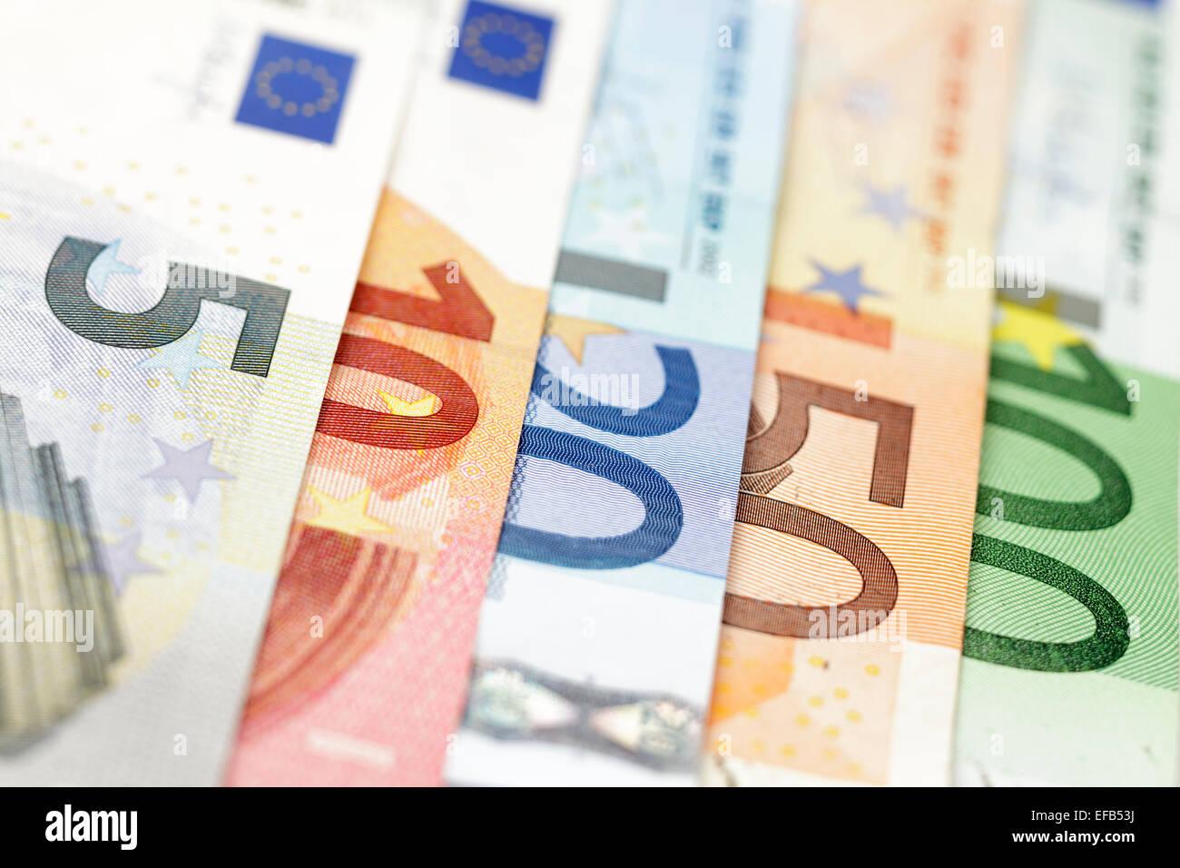 Euro bank notes prises avec Tilt Shift lens Banque D'Images