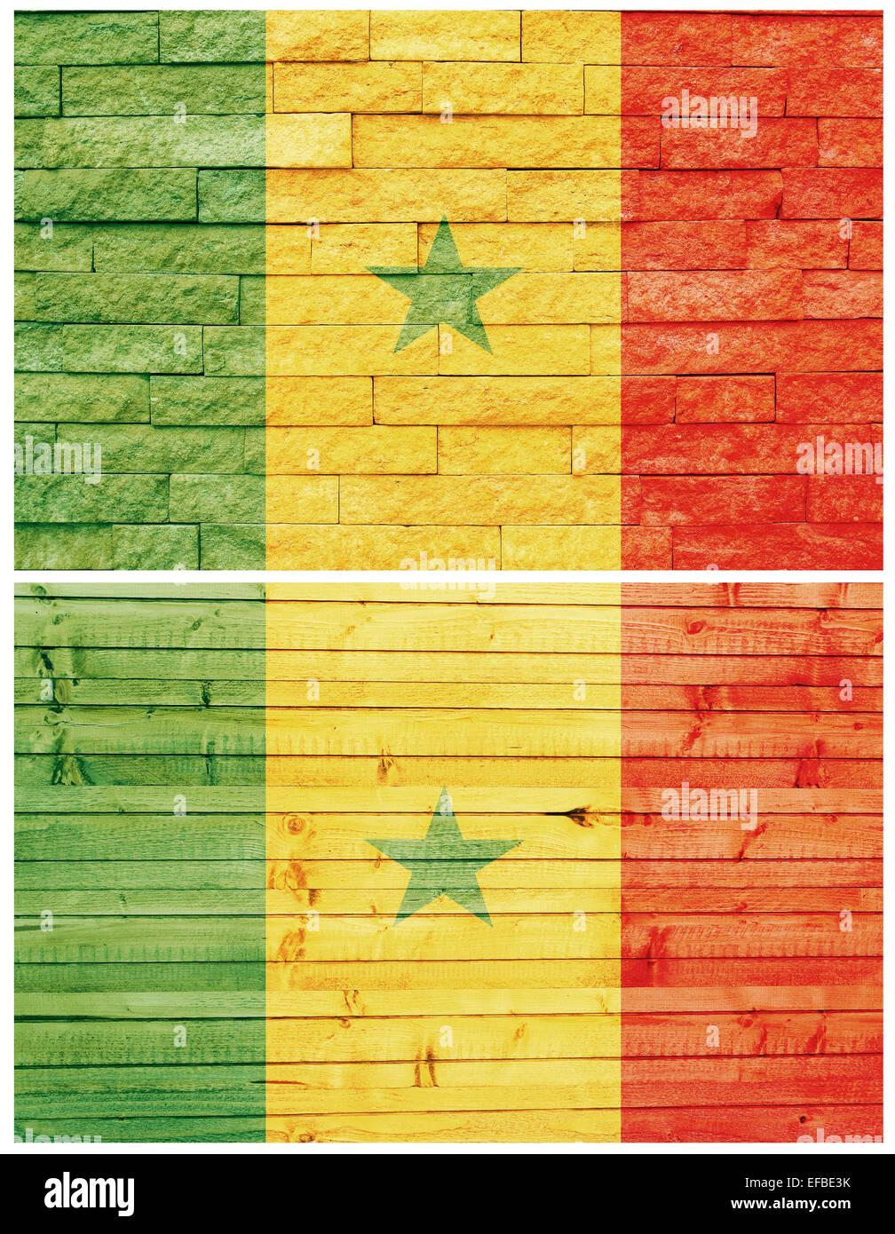 Mur du Sénégal drapeau Vintage collage Photo Stock