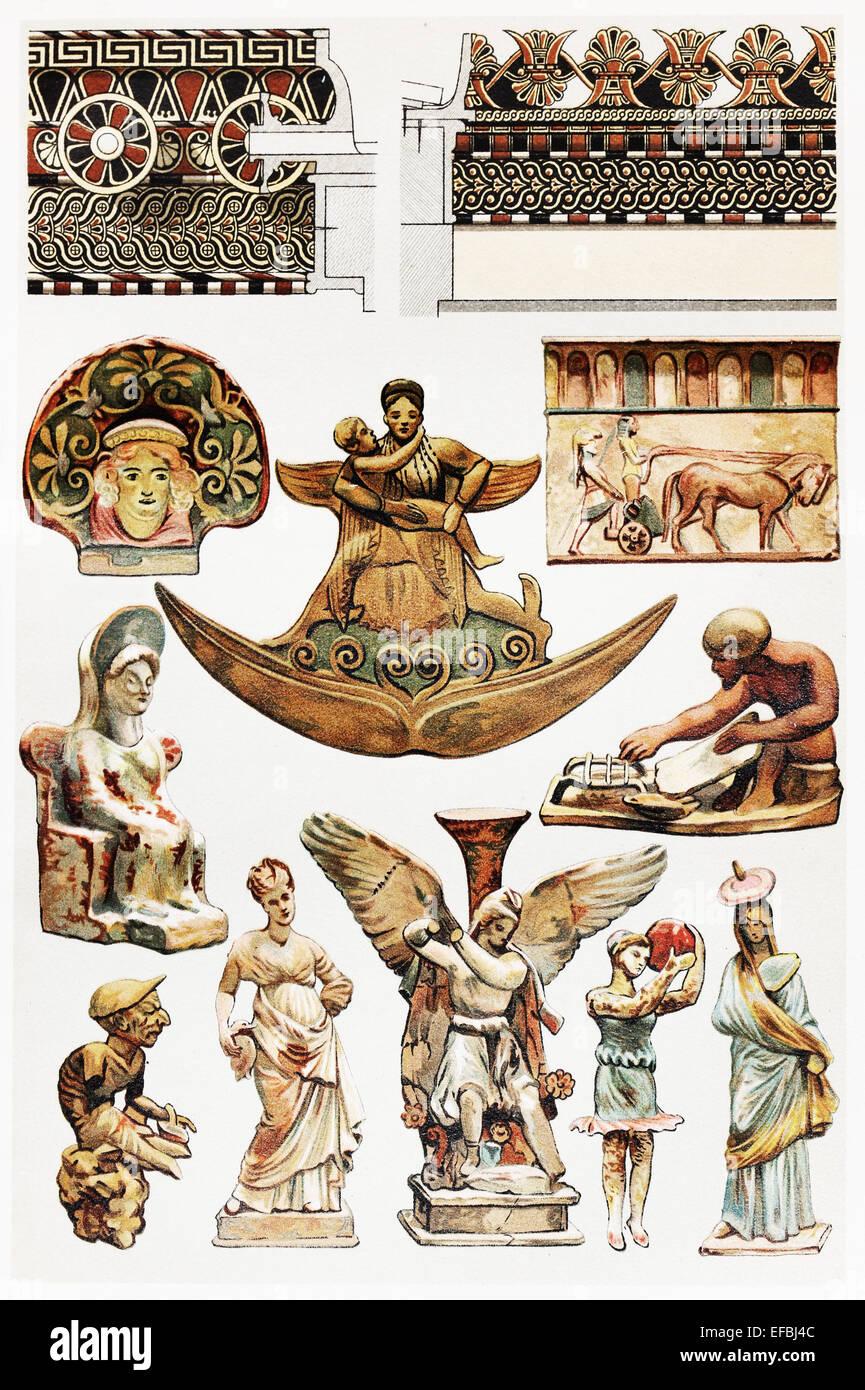 Vintage dessin de modèles en terre cuite dans l'antiquité; dessin à partir de la fin du Photo Stock