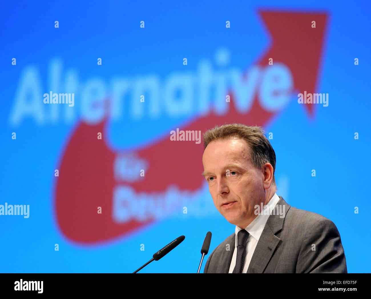 """Brême, Allemagne. 06Th Feb 2015. Le professeur Stefan Homburg à l'Université de Hanovre donne une conférence sur le thème """"Réforme de l'imposition du revenu"""" à la 3ème conférence des parties de l'Alternative für Deutschland (AfD) partie à Brême, Allemagne, 01 février 2015. La conférence de trois jours se termine dans l'après-midi. PHOTO: INGO WAGNER/dpa/Alamy Live News Banque D'Images"""