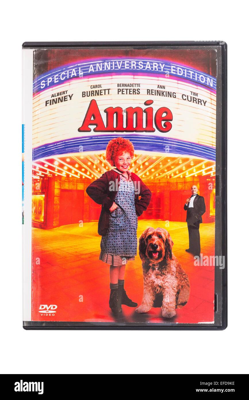 Annie le film DVD sur un fond blanc Banque D'Images