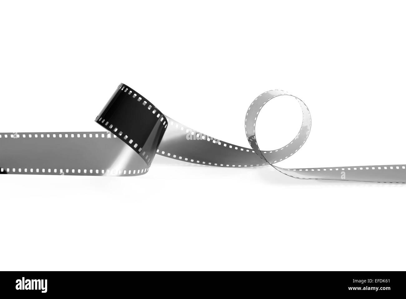 Film du monochrome vide caméra analogique sur un fond blanc. Il est isolé, le travailleur des chemins est présent. Banque D'Images